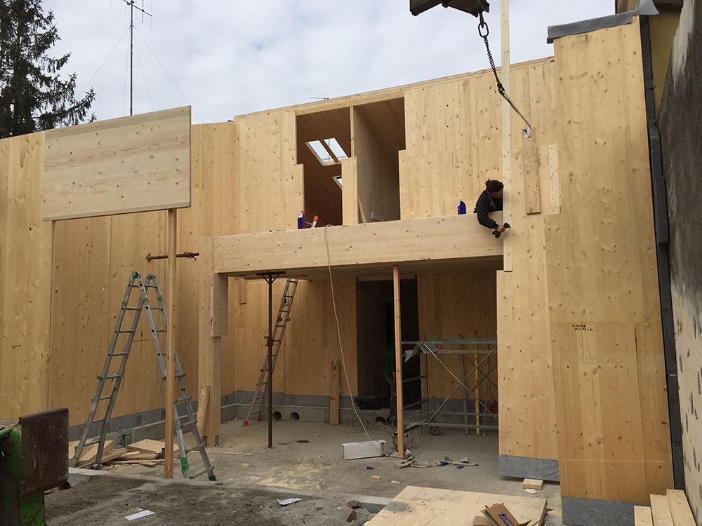 Costruzione cantiere casa in legno prefabbricata
